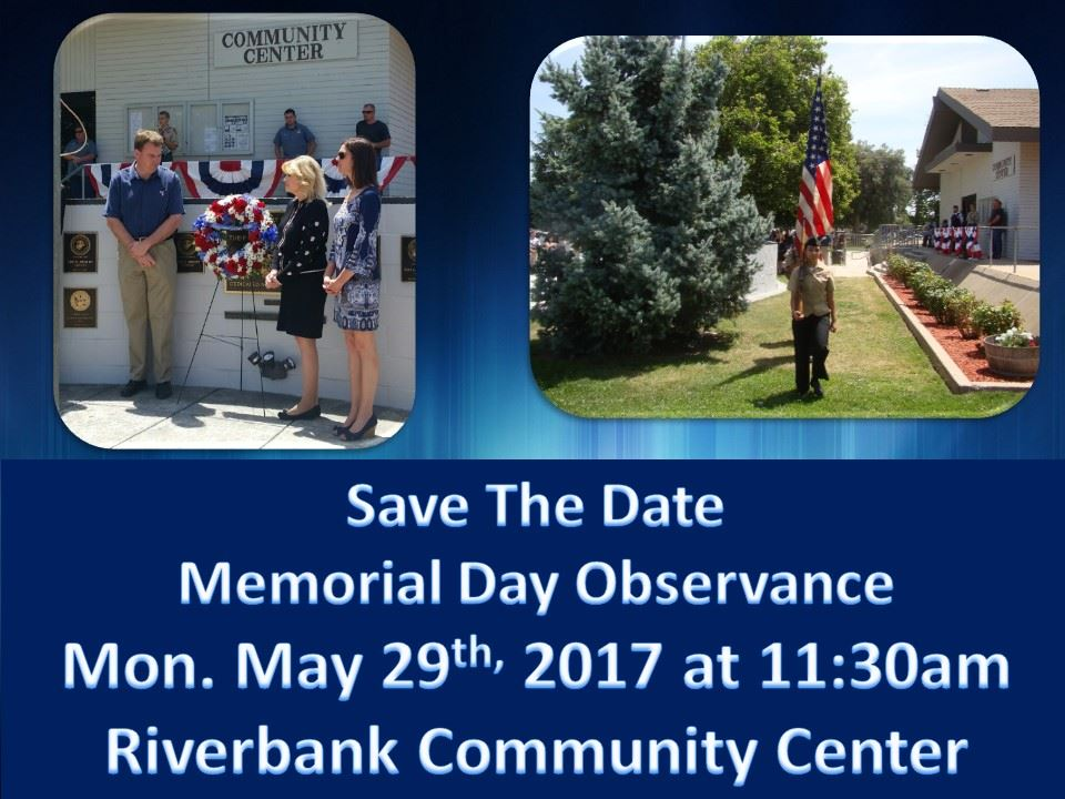 Memorial Day Ceremony- Save the Date