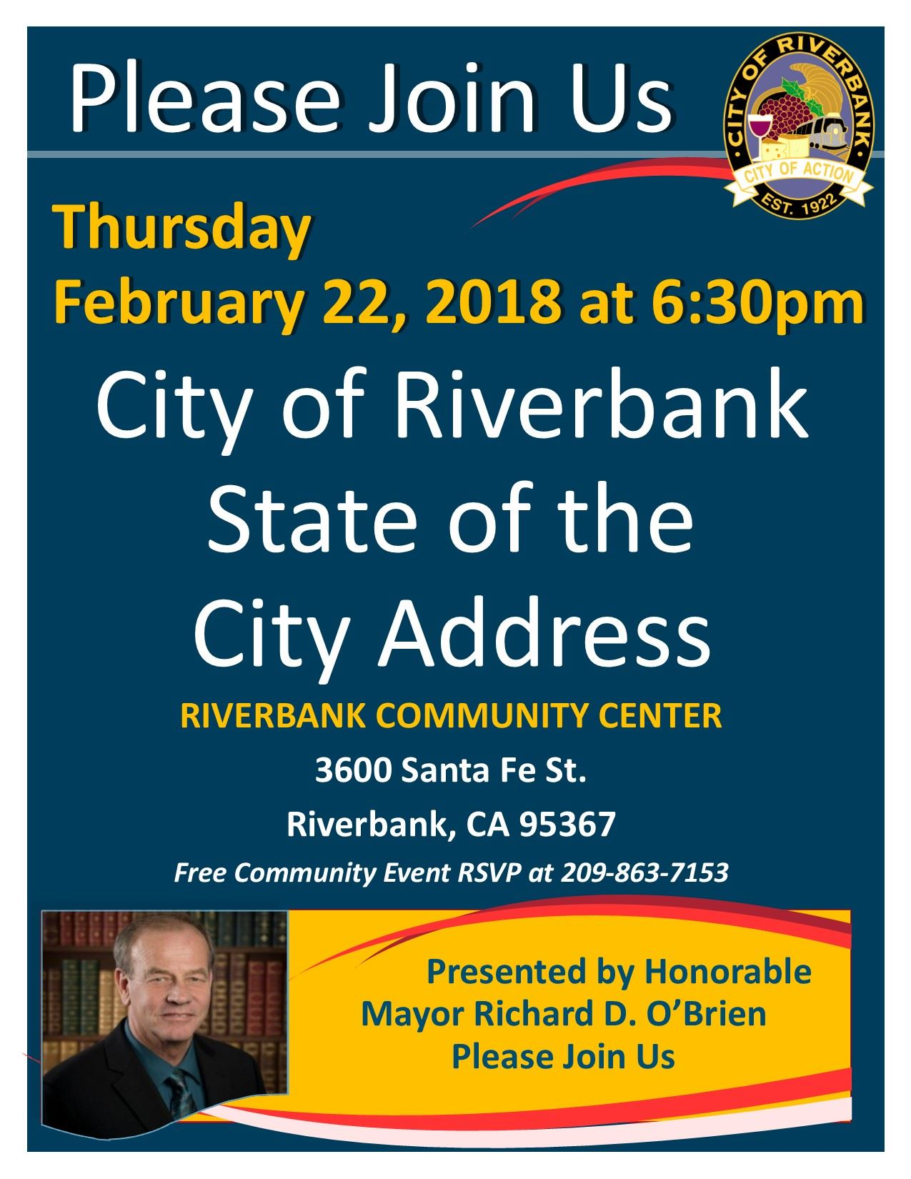 2018 Save the Date Riverbank State of the City Address