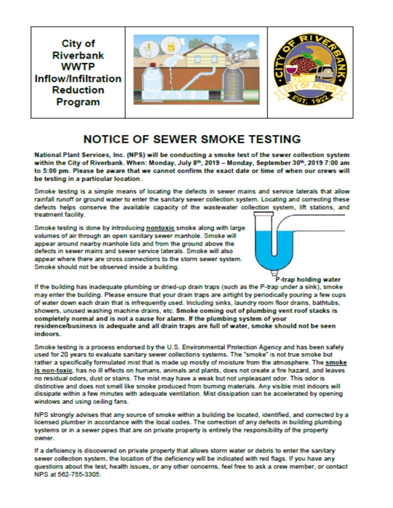 Notice of Smoke Testing