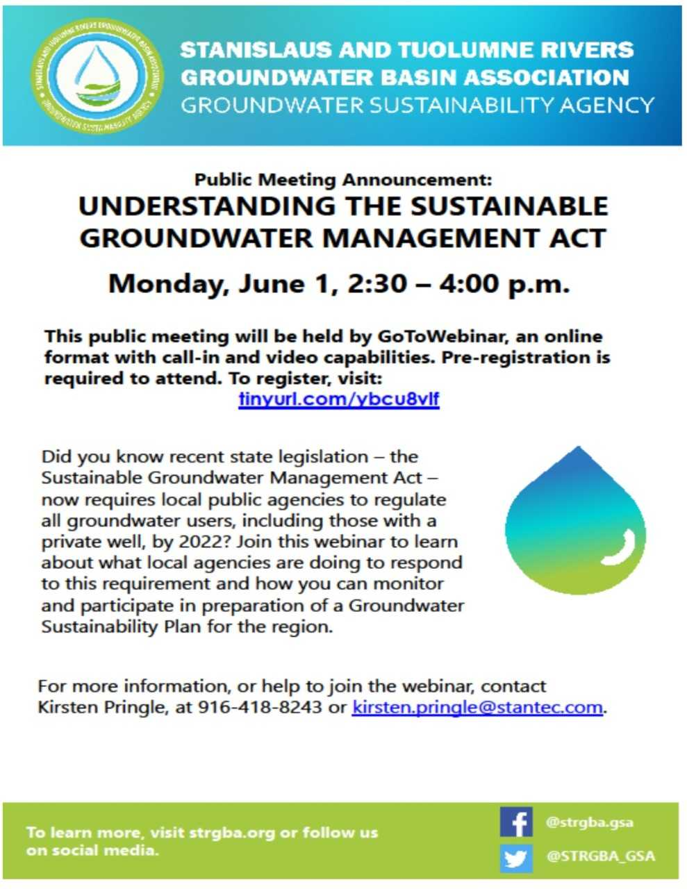 Ground Water Public Meeting Notice Flyer