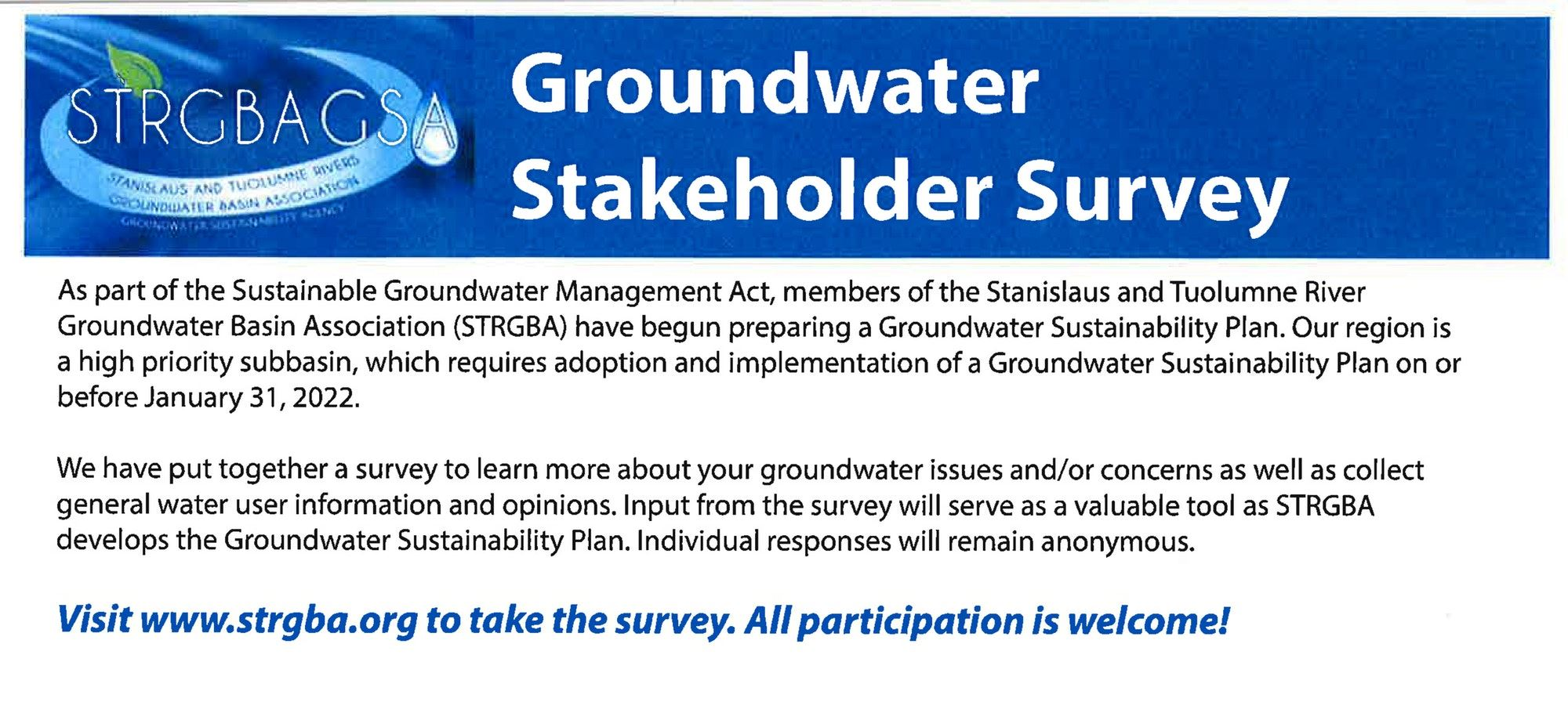 STRGBA Groundwater Stakeholder Survey