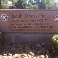 Jacob Myers Park sign with rocks in front on the ground